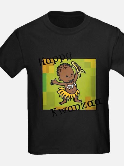 Happy Kwanzaa little Boy dancing with corn.png T-S