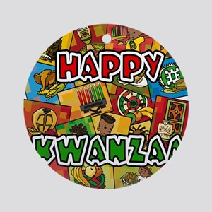 Happy Kwanzaa Collage Ornament (Round)