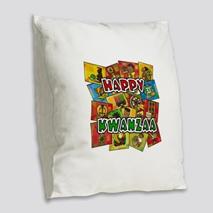 Happy Kwanzaa Collage Burlap Throw Pillow