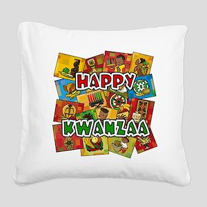 Happy Kwanzaa Collage Square Canvas Pillow