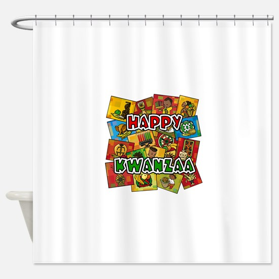 Happy Kwanzaa Collage.png Shower Curtain