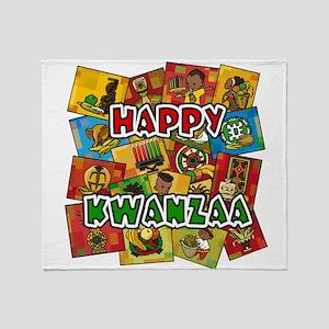 Happy Kwanzaa Collage Throw Blanket