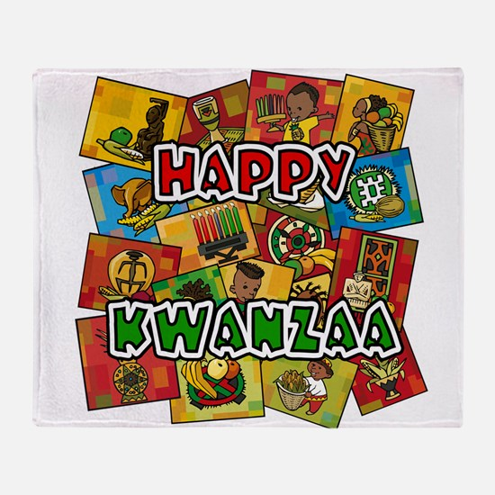 Happy Kwanzaa Collage.png Throw Blanket