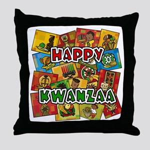 Happy Kwanzaa Collage Throw Pillow
