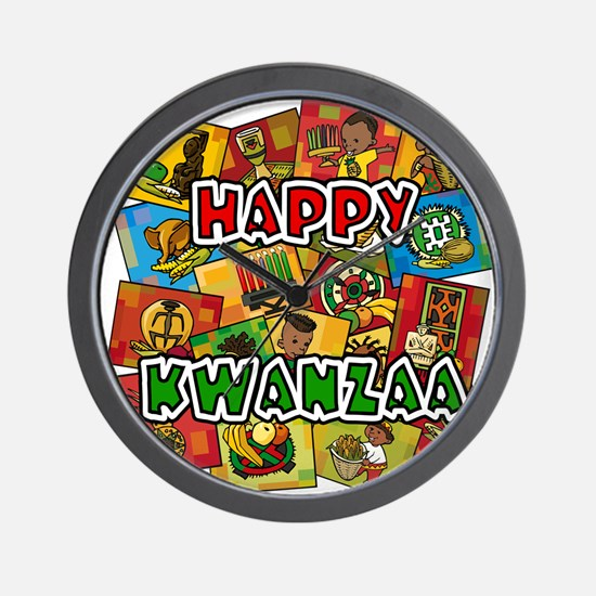 Happy Kwanzaa Collage.png Wall Clock
