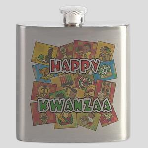 Happy Kwanzaa Collage Flask