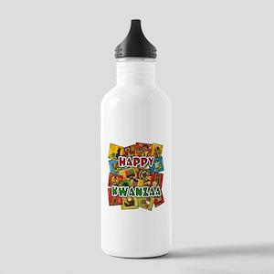 Happy Kwanzaa Collage Water Bottle