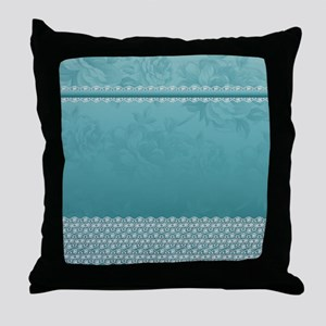 Floral Blue And Lace Stylish Design Throw Pillow