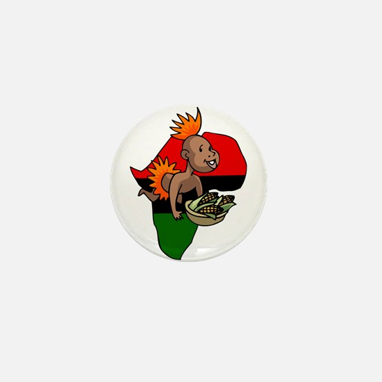 Kwanzaa Baby with Africa and corn.png Mini Button