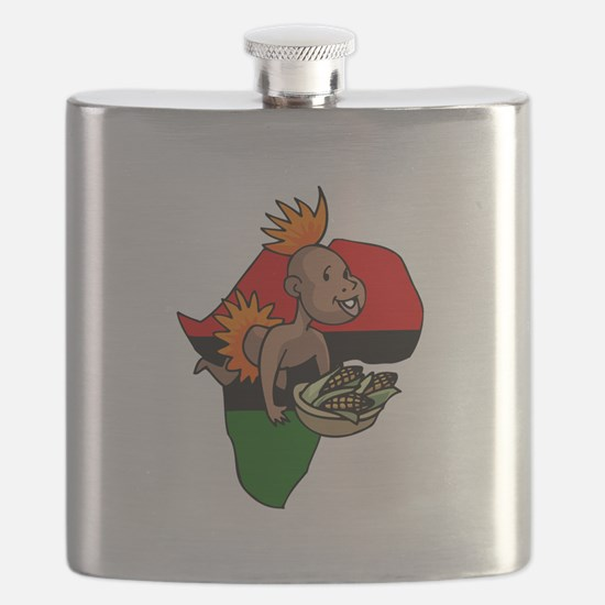 Kwanzaa Baby with Africa and corn.png Flask