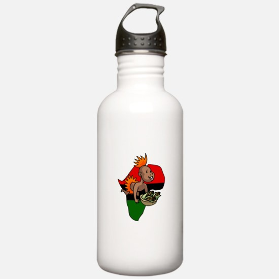 Kwanzaa Baby with Africa and corn.png Water Bottle