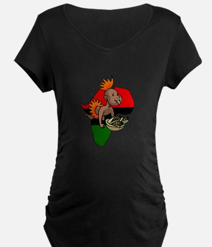 Kwanzaa Baby with Africa and corn.png Maternity T-