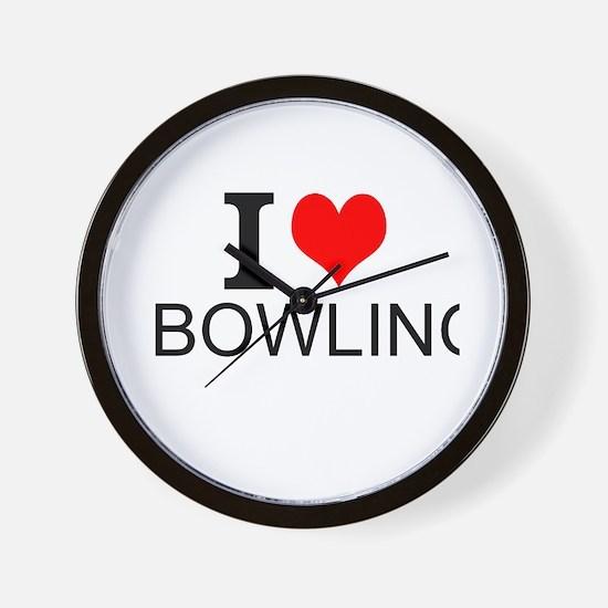 I Love Bowling Wall Clock