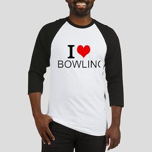 I Love Bowling Baseball Jersey