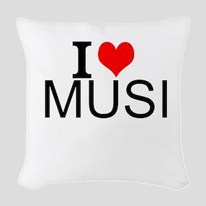 I Love Music Woven Throw Pillow