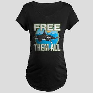 Free Them All(Whales) Maternity Dark T-Shirt