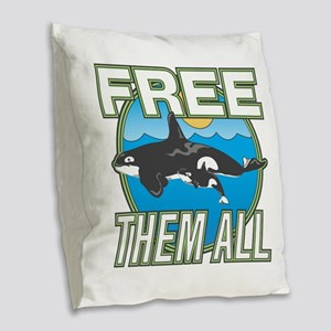Free Them All(Whales) Burlap Throw Pillow