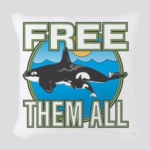 Free Them All(Whales) Woven Throw Pillow