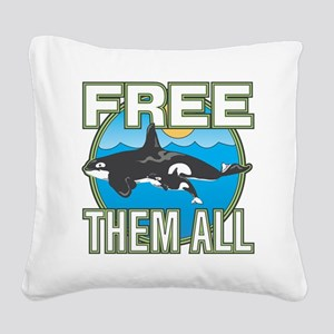Free Them All(Whales) Square Canvas Pillow