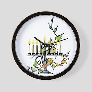 ivy wrapped around Chanuka Menorah Wall Clock