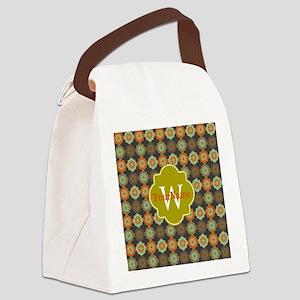 Monogrammed Decorative Quatrefoil Canvas Lunch Bag