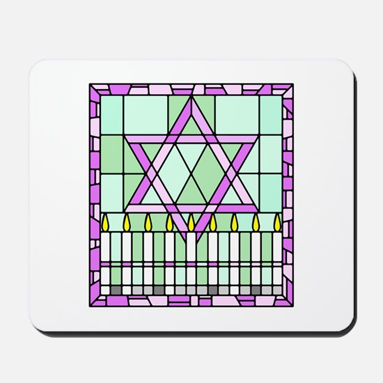 stained glass window Star of David and candles.png