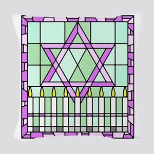 stained glass window Star of David and candles