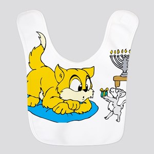 mouse teaching cat about hannukkah Bib