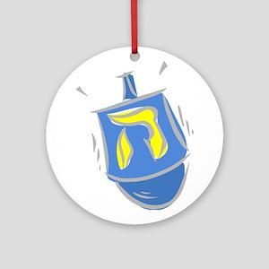 blue dreidel Ornament (Round)