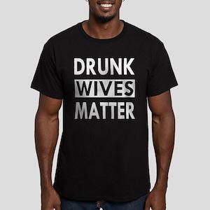 Drunk Wives Matter Men's Fitted T-Shirt (dark)