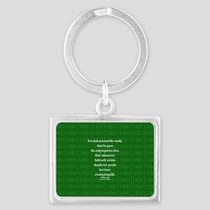 John 3 16 green Landscape Keychain
