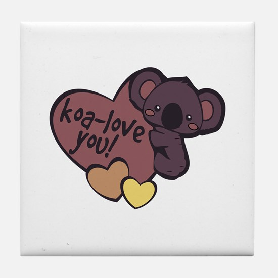 Koa-Love You Tile Coaster