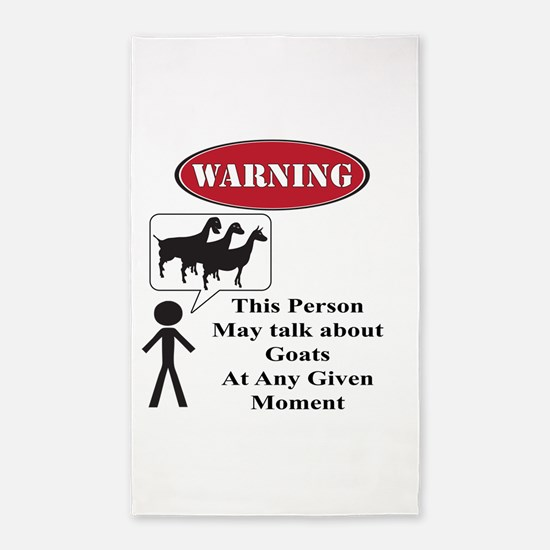 Funny Goat Warning 3'x5' Area Rug