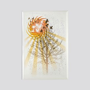 Birds and Tree and Sun Rectangle Magnet