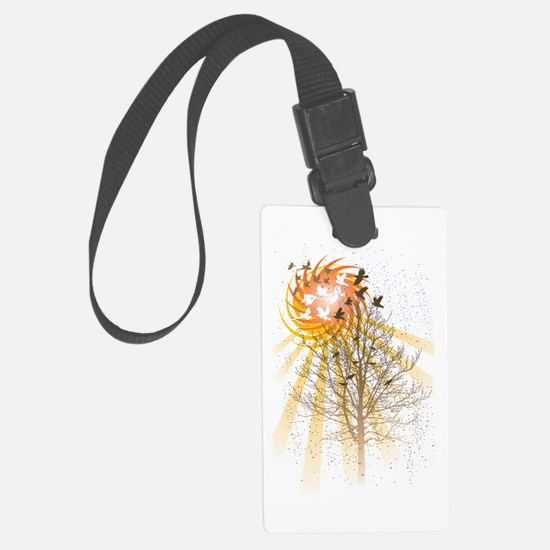 Birds and Tree and Sun Large Luggage Tag