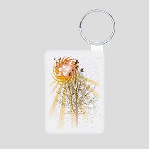 Birds and Tree and Sun Aluminum Photo Keychain
