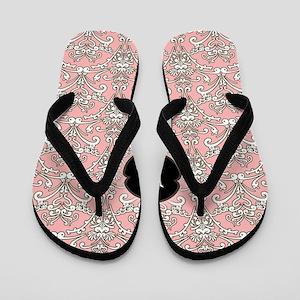 Pink filigree initial outline Flip Flops