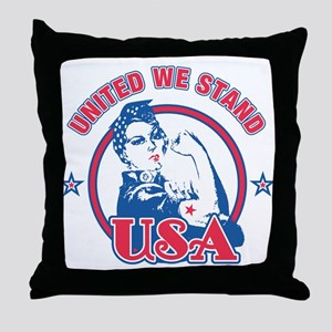 Rosie Riveter United USA Throw Pillow