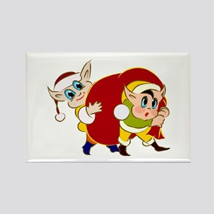 2 elves carrying santas bag Magnets