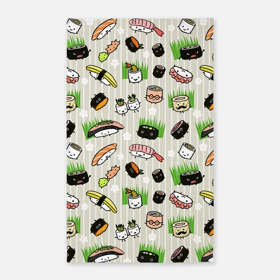 Sushi Characters Pattern 3'x5' Area Rug