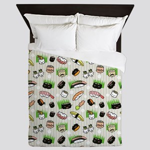 Sushi Characters Pattern Queen Duvet
