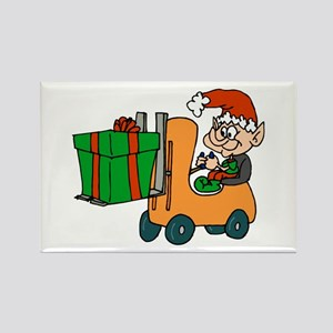 elf with package on forklift Magnets