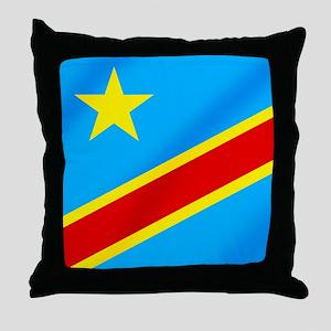 Congolese Flag Throw Pillow