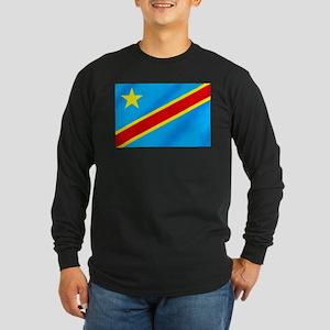 Congolese Flag Long Sleeve Dark T-Shirt