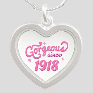 1918 Birth Year Birthday Silver Heart Necklace