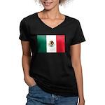 Mexico Flag Women's V-Neck Dark T-Shirt