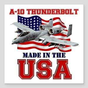 "A-10 Thunderbolt Square Car Magnet 3"" x 3"""