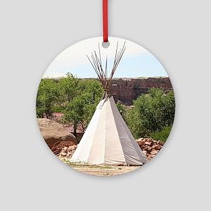 Indian teepee, pioneer village, Ari Round Ornament