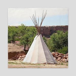 Indian teepee, pioneer village, Arizon Queen Duvet