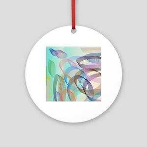Circles on Aqua Round Ornament